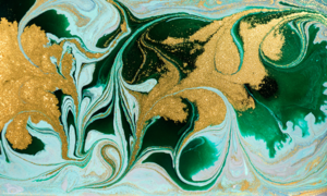 green paint swirled with gold glitter