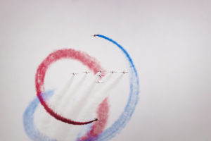 A photo of the red arrows in formation